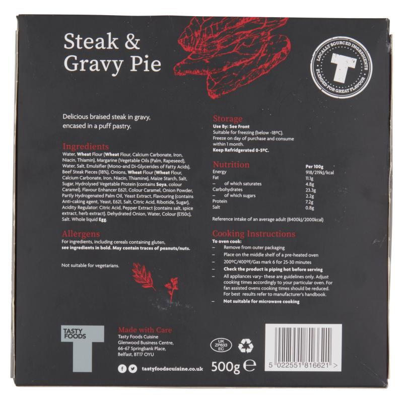Steak & Gravy Pie 500g - Tasty Foods Cuisine